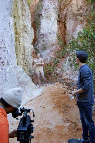 Making of Blob by Chad Zemel - recording video of a man covered in mud