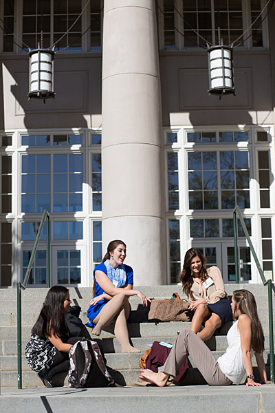 Female students chatting on MLC front steps