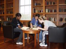 students reading in the Reading Room